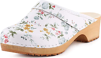 Ladeheid Women´s Wood Shoes Clogs House Shoes LAFA039 (White-4, 41 EU = 7 UK)