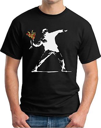 OM3 Banksy Flower Thrower - T-Shirt Urban Street Art Peace Paix Punk Indie, 4XL, Black