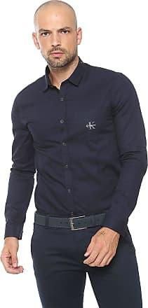 Calvin Klein Jeans Camisa Calvin Klein Jeans Reta Logo Azul-marinho