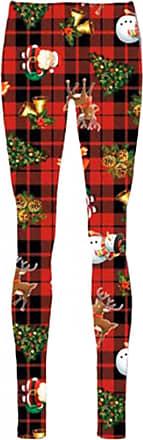 Be Jealous Womens Christmas Legging Ladies Xmas Santa Reindeer Tartan Candy Stick Jegging S/M (UK 8/10) Gift Tree Santa Tartan Red