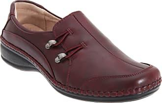 Boulevard Elasticated Loop Slip On Shoes - Burgundy PU, Ladies UK 6 / EU 39