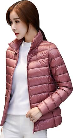 Isshe Womens Down Puffa Jacket Women Ladies Winter Padded Coats Stand Collar Down Puffer Quilted Coat Jackets Bubble Coat Overcoat Womens Parka Lightweight