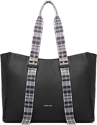 Quirk PLAID TARTAN STRAP SHOULDER BAG - BLACK