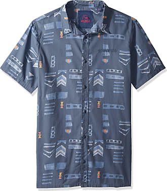 Quiksilver Mens MAD Wax Printed Woven Button, Vintage Indigo Madwax Shirt, S