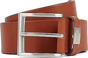 BOSS Vegetable-tanned leather belt with branded keeper hardware