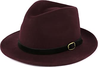 Hat To Socks Wool Fedora Hat with Suede Belt Handmade in Italy Burgundy