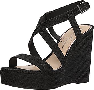 fdc9c5aa23a Jessica Simpson Womens SALONA Wedge Sandal Black 10 Medium US