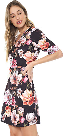 Lança Perfume Vestido Lança Perfume Curto Floral Preto