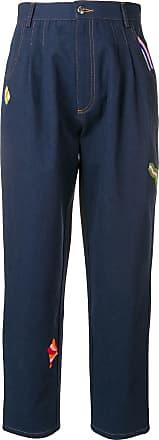 être cécile embroidered boyfriend jeans - Blue