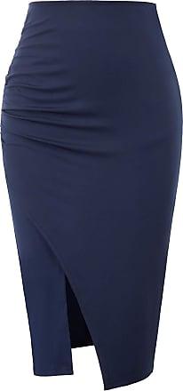 Grace Karin Women Hips Wrapped Pencil Skirt Ruched Formal Work Business Knee Length Skirt Elastic Split Skirt Navy Blue XL