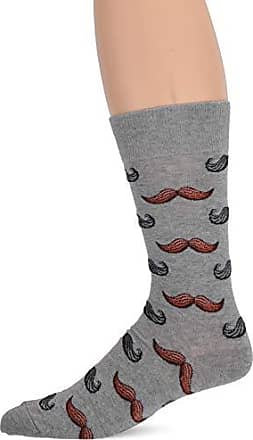Hot Sox Mens Conversation Starter Novelty Casual Crew Socks, Moustache (Grey Heather), Shoe Size: 6-12 Size: 10-13