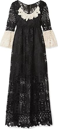 Anna Sui Floral Diamond And Medallion Crocheted Lace Midi Dress - Black