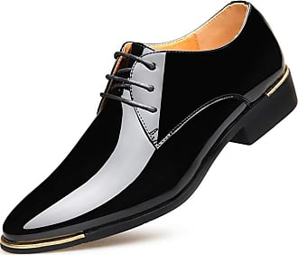 LanFengeu Men Formal Leather Shoes Pointed Toe Breathable Lace up Flats Oxfords Wedding Party Business Dress Shoes Black