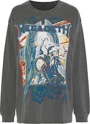 da01a58d55 R13 Woman Distressed Printed Cotton-jersey T-shirt Gray Size S