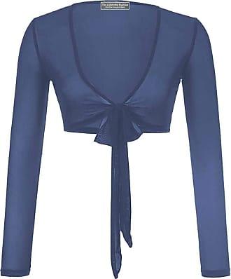 The Celebrity Fashion Womens Long Sleeve Bandage Wrap Crop Top Mesh Shrug Transparent Shirt Blouse Top Navy Blue