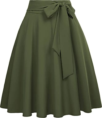 Belle Poque Women Evening Party Office Casual A-Line Skater Skirts with 2 Side Pockets Dark Olive Green(561-15) Medium