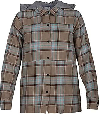 Hurley Womens Apparel Womens Plaid Collared Long Sleeve Button Down Shirt, Khaki Hoodie, S