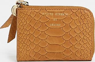 & Other Stories leather snake-effect embossed wallet in camel-Tan