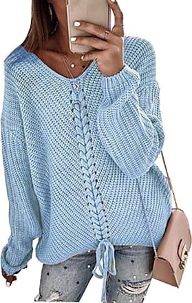 Isshe V Neck Jumpers for Women Loose Long Sleeve V Neck Knitwear Top Casual Blouse Sweater Ladies Blue L