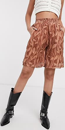 ZYA The Label textured chiffon shorts in floral print-Brown