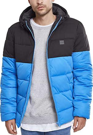 Urban Classics Mens Hooded 2-Tone Puffer Jacket, Blue (brightblue/blk 01435), XXL