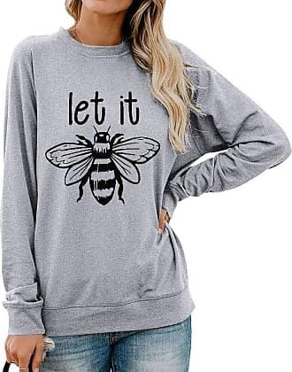 Dresswel Women Let It Bee Sweatshirt Funny Bee Keepper Pullover Crew Neck Long Sleeve Tops Blouse Shirts Grey
