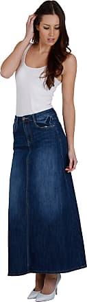a3020a5e20 Cindy H. Long Stonewash Denim Skirt Maxi Full Length SKIRT68-S UK 8