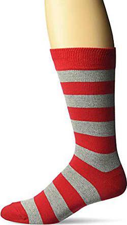 Hot Sox Mens Fashion Pattern Slack Crew Socks, College Rugby Stripe (Red/Grey), Shoe Size: 6-12