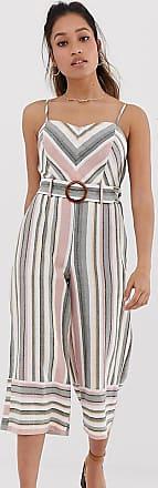 Miss Selfridge linen look jumpsuit in chevron stripe-Multi