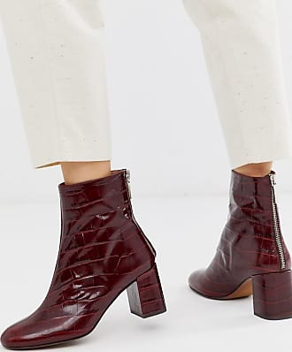 Whistles bartley croc back zip leather ankle boot-Red
