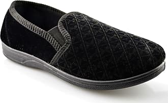 Zedzzz Mens New Boxed Slip On Velour Twin Gusset Slippers Shoes Size 6-16 - Black - UK 12