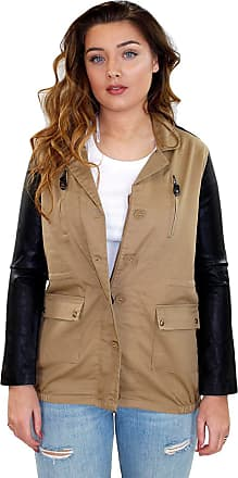 True Face Womens Army Style Jacket Long Sleeves Full Zip Faux Leather Commando Top Beige S