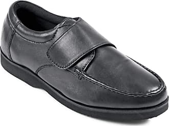 Chums Mens Wide Fit Touch Fasten Leather Shoe Black 12 UK