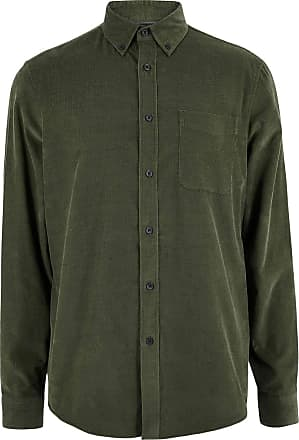 White Label M&S Pure Cotton Fine Needlecord Corduroy Mens Smart Casual Shirt Green Size 3XL