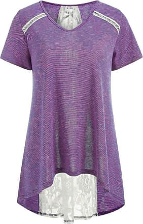 Kobay Women Sexy Striped Lace Tops Blouse, Ladies Casual Panel Bandage Embellished high Low Hem Tank Tops Purple