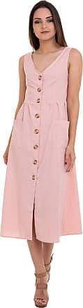 Kinara Vestido Midi Liso Amarração nas Costas Rosa Kinara