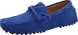 ICEGREY Mens Lace Up Suede Leather Moccasin Loafer Shoes Blue 13