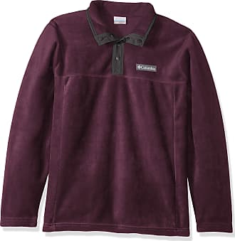 Columbia Mens Steens Mountain Half Snap Fleece Jacket, Black Cherry, Shark, Medium