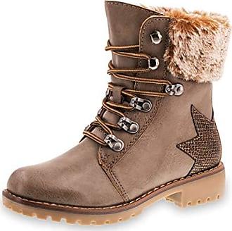 92d58ea16adc94 Marimo Damen Winter Schnür Boots Schuhe Stiefel mit Kunstfell in Lederoptik  Metallic Stern gefüttert Khaki 40
