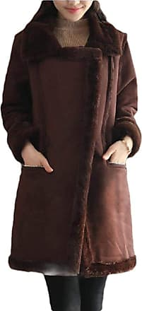 VITryst Womens Slim Lapel Longline Lamb Wool Lined Faux Suede Jacket Overcoat,Coffee,X-Large
