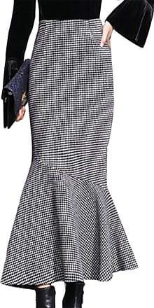 H&E Women Houndstooth High Waisted Falbala Mid Long Fishtail Skirt Pencil Skirts Black White L