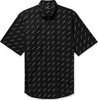 0071d983 Balenciaga Button-down Collar Logo-print Cotton-poplin Shirt - Black