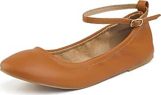 Dream Pairs Womens Sole-Fina-Straps Tan Ankle Straps Ballet Flats Shoes Size 8.5 US/ 6.5 UK
