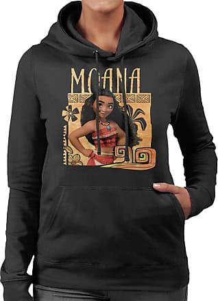 Disney Moana Floral Frame Womens Hooded Sweatshirt Black