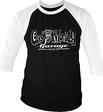 Gas Monkey Garage Official White Logo Baseball 3/4 Sleeve T-Shirt (White-Black) S