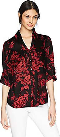 Byer Young Womens Teen Button Down Shirt with Roll-tab Sleeves A