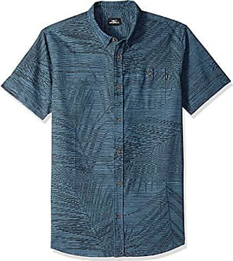 O'Neill Mens Fronzarelli Short Sleeve Woven Shirt, Dark Blue, M
