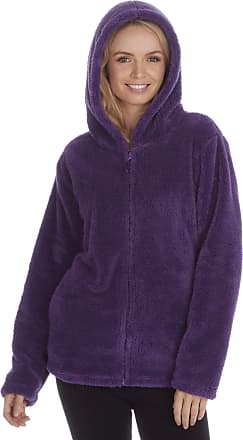 Forever Dreaming Ladies Womens Snuggle Top Hoodie Full Zip Fleece Super Soft (Purple) (Small (8-10))