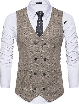 Whatlees Mens Vintage Slim Fit Double-Breasted Solid Suit Vest Ribbon Khaki 02020001XKhaki+XXL