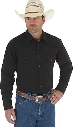 Wrangler MensLong Sleeve Sport Western Snap Shirt Spread Collar Long Sleeves Shirt - Black - Medium